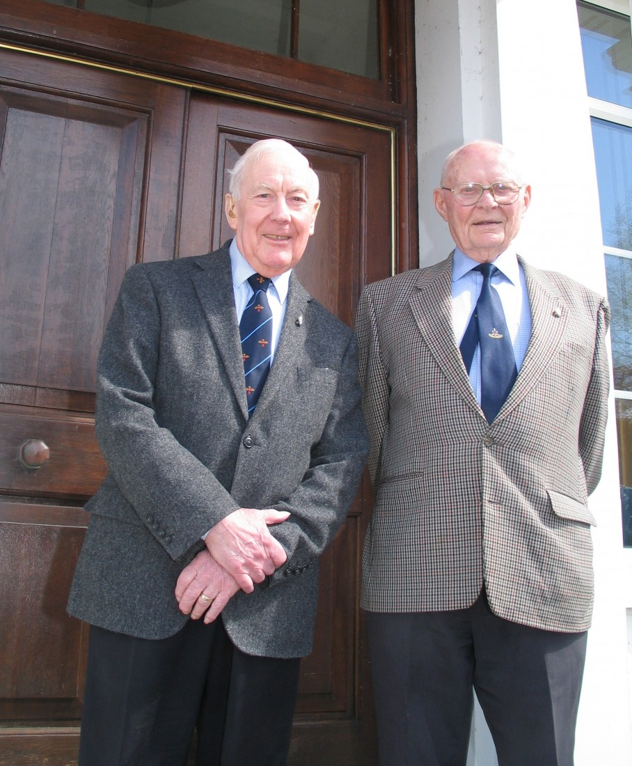WE MEET AGAIN... Former 'old boys' of 502 Auxiliary Squadron Dick Spence and Enniskillen man and WW2 pilot Bill Eames outside the officers mess at  Aldergrove station