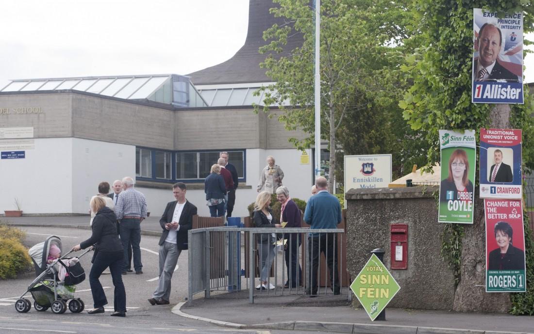 Polling station at Enniskilllen Model school Enniskillen