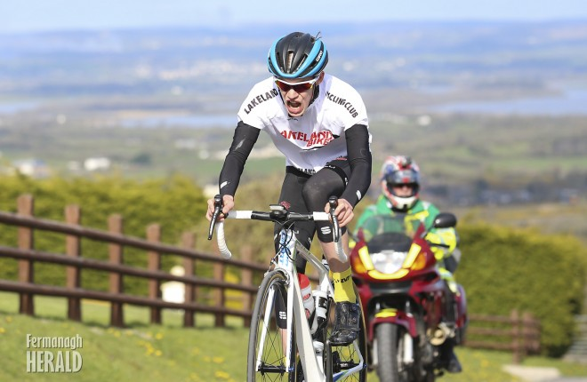 Cameron McIntyre on his way to winning day 2 of the Lakeland Cycle