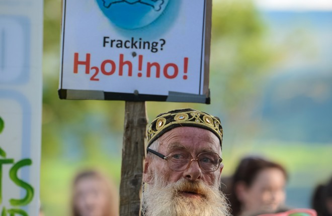Enniskillen native Maco joined hundreds of protesters at the drill site near Belcoo. RMGFH120