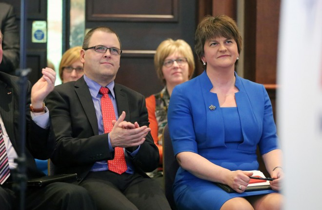 Raymond Farrell and First Minister Arlene Foster at the DUP Spring Conference at the Roe Park Hotel in Limavady