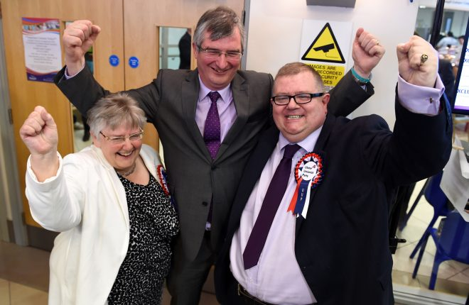 Official Unionist MLA's Ross Hussey, and Rosemary Barton, celebrate with Tom Elliot.  MC 8