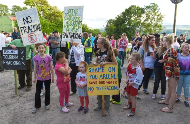 Protesters at the proposed fracking site near Belcoo    RMG41