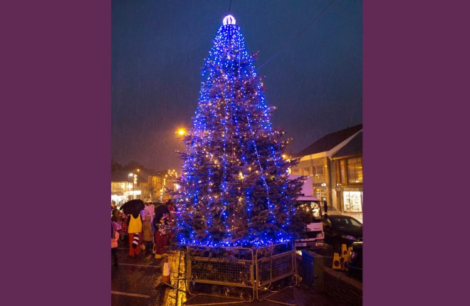 The newly lit tree in Irvinestown. JPM5171